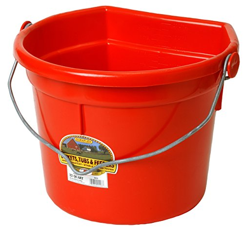 LITTLE GIANT Flat-Back Dura-Flex Plastic Bucket with Knob Bail, 22-Quart, Red
