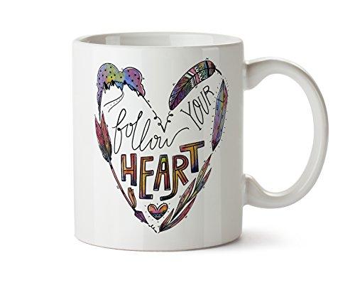 Follow Your Heart - Handrawn Watercolor Art Coffee Mug 11 Ounce Tea (Follow Mug)