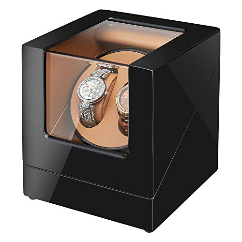 - [Newly Upgraded] Sepano Double Automatic Watch Winder, Quiet Mabuchi Motor,Wood Shell Piano Paint Exterior Dual Watches Rotating Display Storage Case Box (Black+Brown)