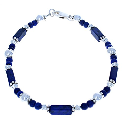 Timeless-Treasures Womens Lapis Blue Turquoise Magnesite & Sterling Silver Ladies Beaded Gemstone Anklet with Daisies - 9