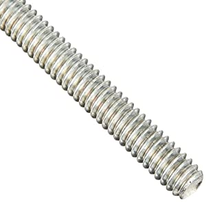 "Steel Fully Threaded Rod, Zinc Plated, 7/16""-14 Thread Size, 24"" Length, Right Hand Threads, Made in US"