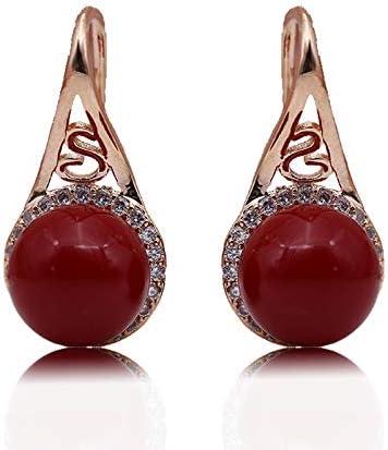 NOBRAND Pendientes De Mujer Coral Shell Perlas Pendientes Oro Rosa Redondo Natural Circón Joyas De Moda