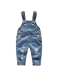 Evelin BEE Baby Boys Girls Denim Overalls Ripped Holes Button Jeans Bib Pants Casual Trousers