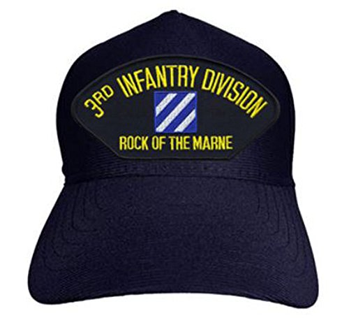 3rd Infantry Division Rock Of The Marine Baseball Cap. Navy Blue. Made In USA