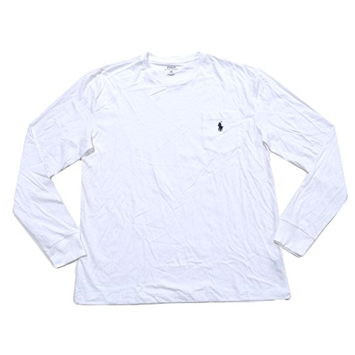 Polo Ralph Lauren Mens Pocket T-shirt Classic Fit Crew Neck Long Sleeve (L, White)