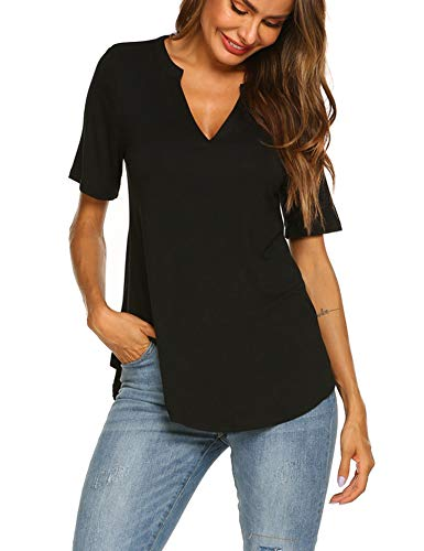 Beyove Women's V Neck Shirts Short Sleeve Loose Casual Flowy Tunic Tops,Black,X-Large