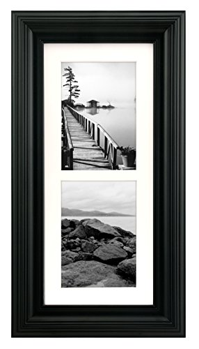 Malden International Designs Portrait Gallery Matted Picture Frame, 2 Option, 2-5x7, Black