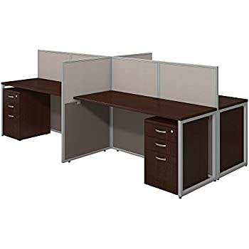 Easy Office 60W 4 Person Straight Desk Open Office with Mobile File Cabinets in Mocha Cherry
