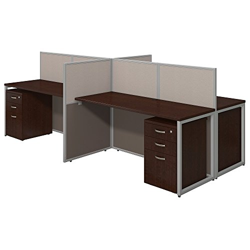 Bush Business Furniture Easy Office 60W 4 Person Straight Desk Open Office with Mobile File Cabinets in Mocha (Straight Wall Mobile)