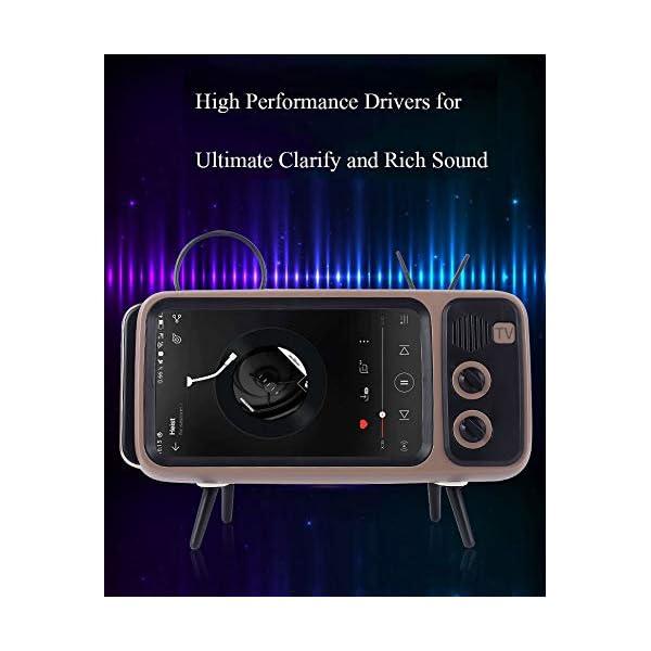 Enceinte Portable Rétro Bluetooth,TV Support de téléphone Portable Haut-Parleur,AUX FM Bluetooth en Option, qualité sonore stéréo 3D 5