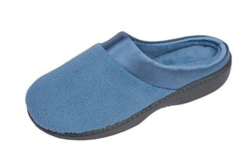 Beverly Rock Dames Satijnen Trim Terry Klompen Pantoffel Hemel Blauw