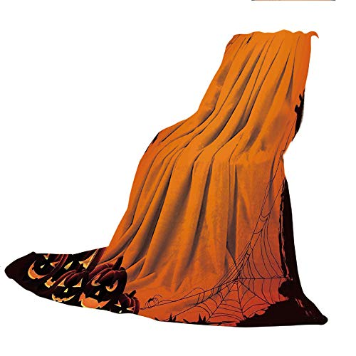SCOCICI Super Thick Flannel Double-Sided Printing Blanket,Halloween Decorations,Grunge Spider Web Pumpkins Horror Time of Year Trick or Treat,Orange Seal Brown,31.50