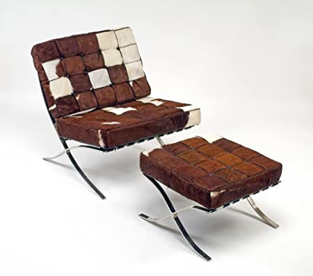 barcelona chair and ottoman brown and white cowhide amazon co uk