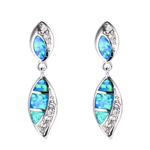 OMZBM Created Fire Opal Gemstone Earrings Exquisite Sterling Silver Double Water Drop Shape Dangle Long Stud Earrings Jewelry White/Blue Women Girl,Blue Double Created Opal Ring