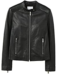 Women's Quilted Panels Leather Jacket