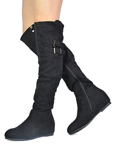 DREAM PAIRS Damenmode Casual Overknee Pull On Slouchy Boots Schwarz-Wildleder