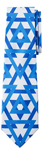 (Jacob Alexander Israel Country Flag Colors Men's Necktie - Two-Tone Blue Star of David Pattern Design)