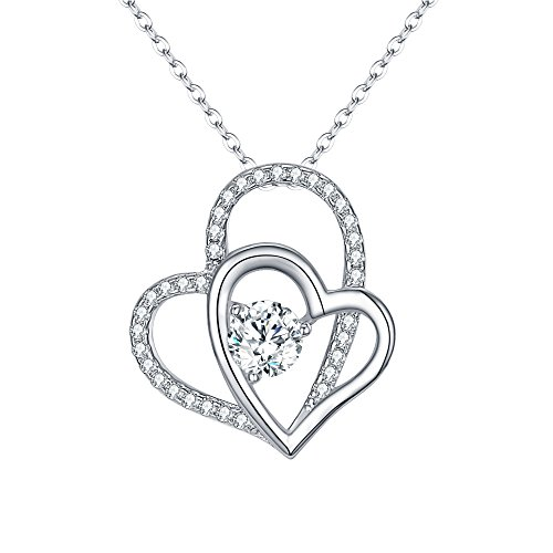 EVER FAITH Women's 925 Sterling Silver CZ Interlocking Open Heart Adjustable Pendant Necklace -