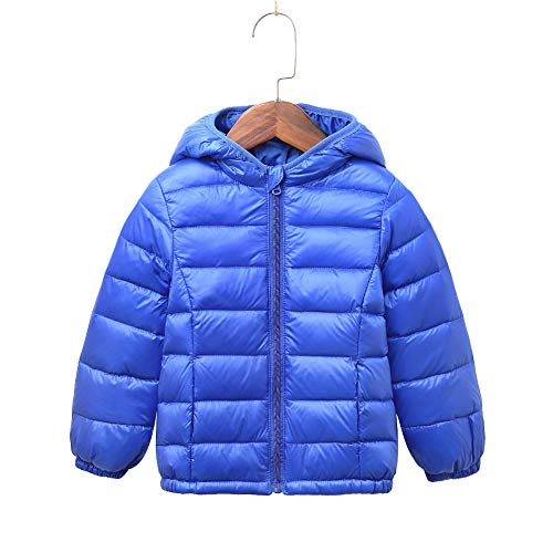 - Children Ultra Lightweight Quilted Hooded Puffer Jacket for Boys and Girls Outwear Windproof Coats KD8708 Blue 2-3 Years Old