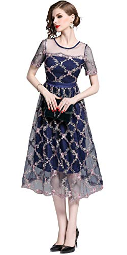 Ababalaya Women's Elegant O-Neck Sheer Mesh Embroidered A-Line Midi Party Bridesmaid Dress,6523Navy Blue,Tag S = US Size 0 ()