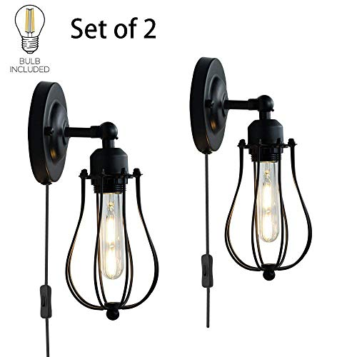 ALLTRUST Set of 2 Wire Cage Wall Sconce Wall Lamp Industrial Plug-in Wall Light Shade Vintage Style Edison E26 Base for Headboard Bedroom Garage Porch Mirror LED Bulbs Included(Set of Two) by Alltrust