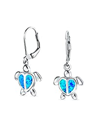 Bling Jewelry Synthetic Blue Opal Sea Turtle Rhodium Plated Silver Leverback Earrings