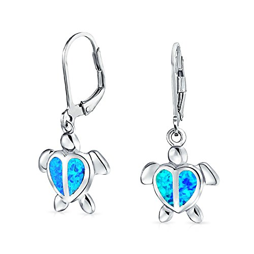 Bling Jewelry Synthetic Blue Opal Sea Turtle Rhodium Plated Silver Leverback Earrings (Rhodium Turtle)