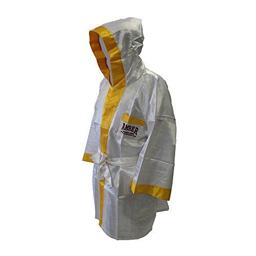 Satin Full Length Boxing Robe Color: White/Yellow Size XL (Robe Full Boxing Length)