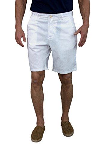 Short Fin Men's Linen Walking Shorts (Size 34, White L8001) ()