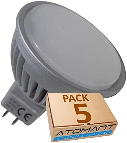 Pack 5x MR16 12-24v 7w. 120 grados. Color Blanco Calido (3000K). 600 lumenes. Para uso con transformador (NO incluido).