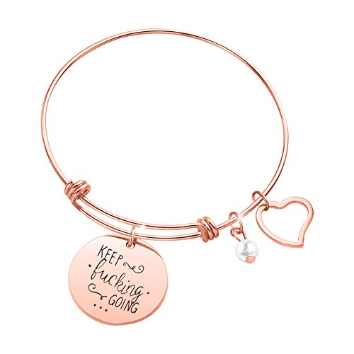 Sunflower Jewellery Keep Going Charm Bracelet Gift Stainless Steel Bangle for Teens (Best A&e Charm Bracelets)