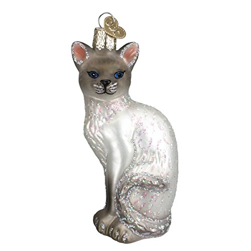 (Old World Christmas Ornaments: Siamese Cat Glass Blown Ornaments for Christmas Tree)