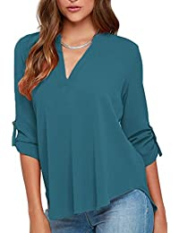 Women's Casual V Neck Cuffed Sleeves Solid Chiffon Blouse...