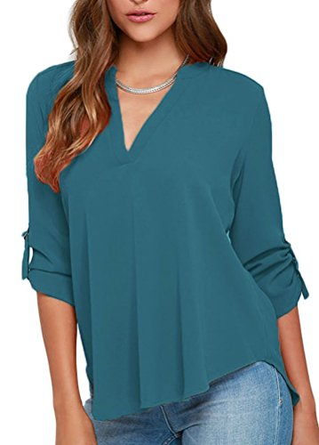 - roswear Women's Casual V Neck Cuffed Sleeves Solid Chiffon Blouse Top Jade Medium