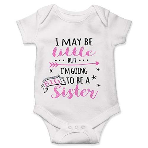 Lucky Star Big Sister Onesie, I May Be Little But I'm Going to Be A Big Sister Onesie- Cute Baby Onesie White