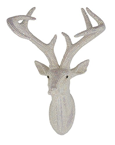(Arthouse, Pearl White Star Studded Faux Stag Deer Head, Modern Home)
