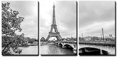 Amazon Com Wall26 3 Piece Canvas Wall Art Paris Eiffel Tower From Seine Cityscape In Black And White Modern Home Art Stretched And Framed Ready To Hang 16 X24 X3 Panels