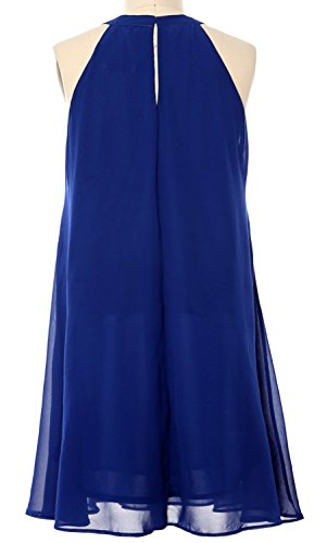 MACloth Women Halter Chiffon Cocktail Dress Short Wedding Party Formal Dress Marfil