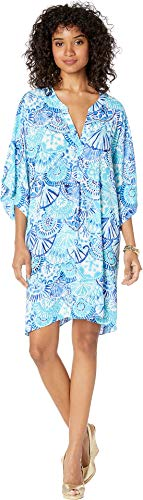 Lilly Pulitzer Women's Leland Cover-Up Turquoise Oasis Half Shell XX-Small