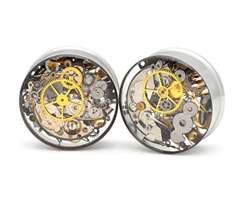 "Mystic Metals Body Jewelry Large Gauge Embedded Steampunk Watch Parts Plugs - Sold As a Pair (1-3/8"" (35mm)) from Mystic Metals Body Jewelry"