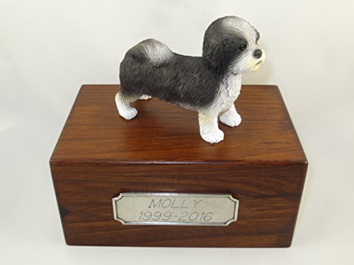 Beautiful Paulownia Small Wooden Urn with Black & White Puppycut Shih Tzu Figurine & Personalized Pewter Engraving