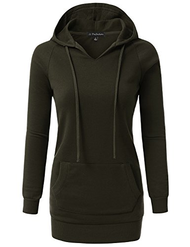 JJ Perfection Womens V-Neck Raglan Long Sleeve Sweatshirt Hoodie OLIVE S