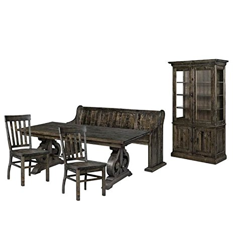 5 Piece Dining Set with Bench, Dining Table, (Set of 2) Dining Chairs, and China Cabinet in Pine