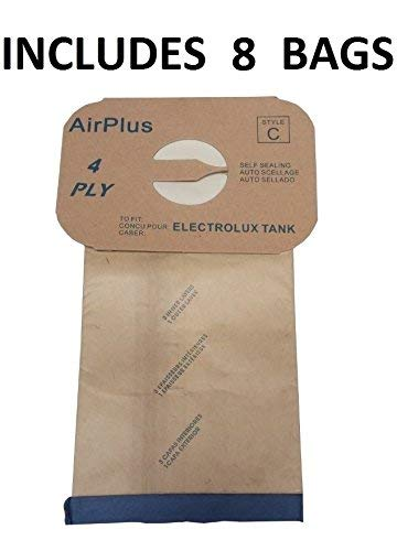 8 Bags for Electrolux Canister Vacuum Cleaner Bags Tank Style C Bag 4 Ply w Rubber Seal