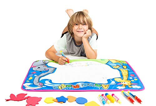 Aitken Enterprises Large Aqua Magic Mat for Children with 2 Magic Water Pens, 8 Drawing Stencils Plus 5 Bonus Magic Pens by Aitken Enterprises