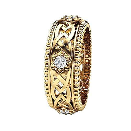 Letdown_rings Women Wedding Ring Plated 14k White Diamond Ring Openwork Pattern Ring Valentine's Festival Gifts for Boyfriend Girlfriend (US Size)