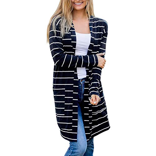 GOVOW Cardigan Sweaters for Women with Pockets Long Sleeve Striped Open Front Jumper Tops(US:8/CN:M,Dark Blue) ()
