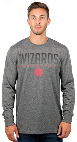 fan products of NBA Men's Washington Wizards T-Shirt Performance Long Sleeve Pullover Tee Shirt, Medium, Gray