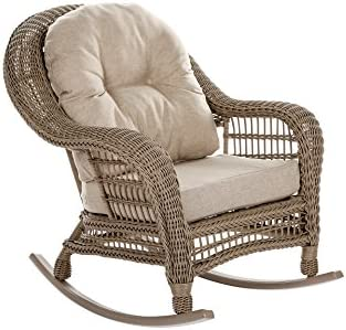 W Unlimited Saturn Collection Outdoor Garden Patio Rocking Chair, Light Brown
