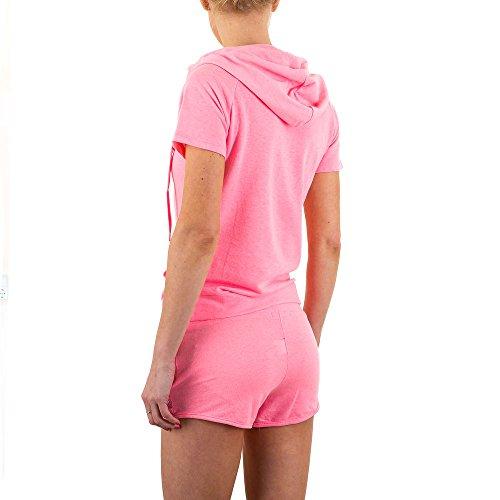 Freizeit Zweiteiler Kapuzen Strass Anzug Für Damen , Rosa In Gr. L bei Ital-Design
